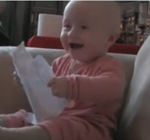laughing baby micah mcarthur ripping paper today show